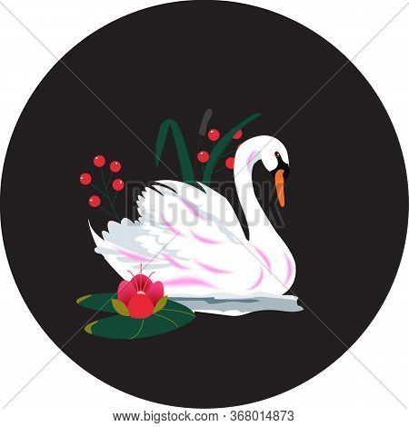 Vector Illustration Of A Swan On A Black Background. Floating Elegant Swan Bird, A Beautiful Wildlif