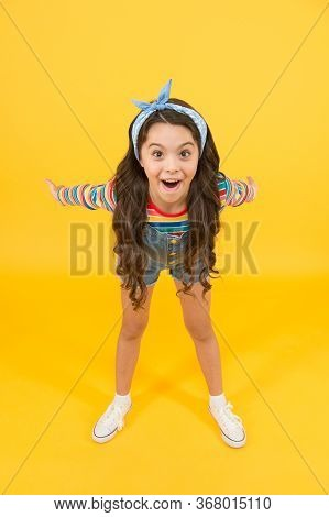 Here I Am. Little Child Look Happy. Beauty Look Of Small Girl. Fashion Look Of Vogue Model. Hair Sal