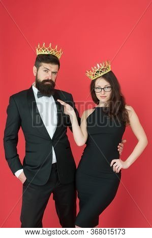 Vice Of Luxury. Beauty Queen And Big Boss Enjoy Luxury. Business Couple Wear Luxury Crowns. Rich Man