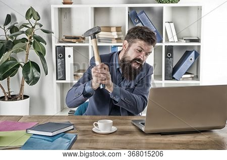 Human Emotions. Computer Lag Virus. Angry Businessman Or Manager With Sledgehammer. Aggressive Busin