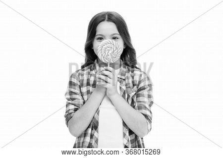 Food Addictions. Girl Kid Eat Sweet Lollipop. Happy Childhood. Sugar Addiction. Healthy Nutrition Di