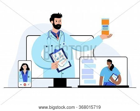 Team Of Doctors Gives Medicines Or Consult A Patient Via Smartphone Or Laptop. Flat Vector Illustrat