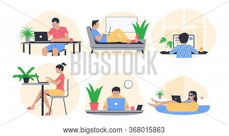 Freelance Work Concept. People Working From Home. Freelancer In Comfortable Conditions. Vector Illus
