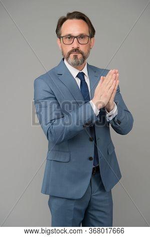 There Is No Substitute For Teacher. Teacher Grey Backgroud. Senior Teacher In Formalwear. Teacher Ca