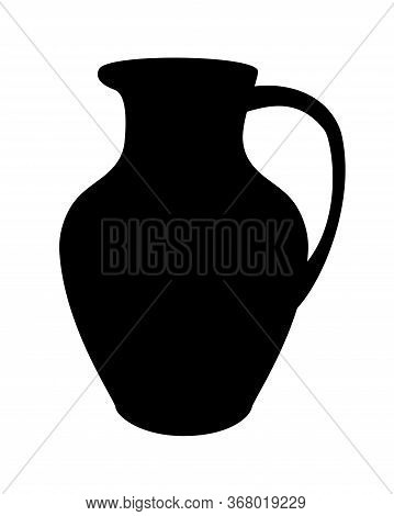 Silhouette Of A Jug. Jug With Handle And Spout - Vector Black Silhouette For A Logo Or Icon. Sign Or
