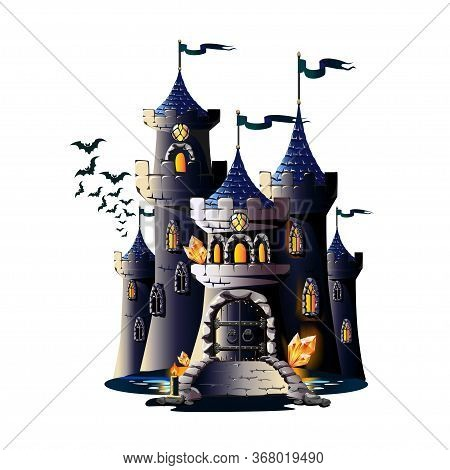 Dark Castle With A Bridge, Wrought Iron Gates And Watch Towers. Vector Illustration On A White Backg
