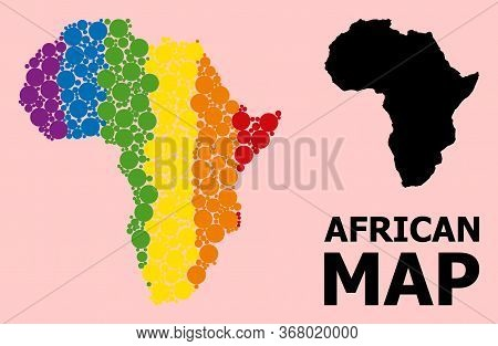 Rainbow Vibrant Collage Vector Map Of Africa For Lgbt, And Black Version. Geographic Collage Map Of