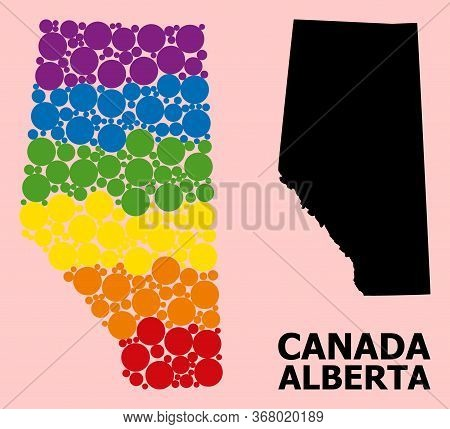 Rainbow Colored Collage Vector Map Of Alberta Province For Lgbt, And Black Version. Geographic Conce
