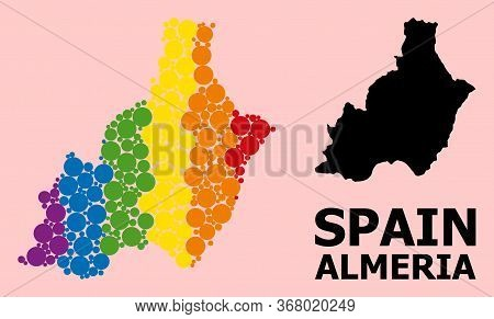 Spectrum Vibrant Collage Vector Map Of Almeria Province For Lgbt, And Black Version. Geographic Coll