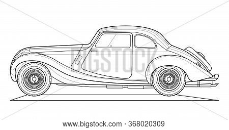 Vector Classic Car Illustration Coloring Book . Black Contour Sketch Illustrate Isolated On White Ba