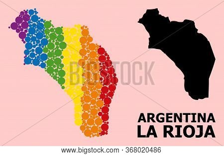 Spectrum Colored Collage Vector Map Of Argentina - La Rioja For Lgbt, And Black Version. Geographic