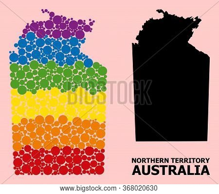 Spectrum Colored Mosaic Vector Map Of Australian Northern Territory For Lgbt, And Black Version. Geo
