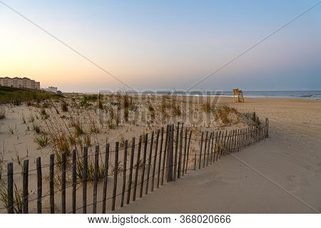 The Beach In Long Branch New Jersey At Dusk.