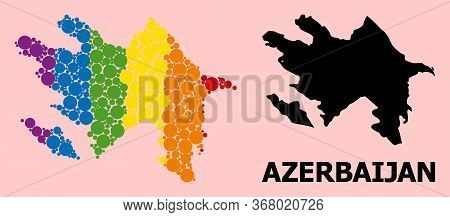 Rainbow Colored Mosaic Vector Map Of Azerbaijan For Lgbt, And Black Version. Geographic Collage Map