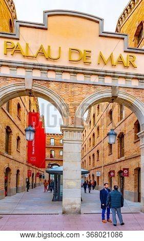 Barcelona, Spain - November 08 2018: Entrance To Palau De Mar (originally General Port Warehouse) In