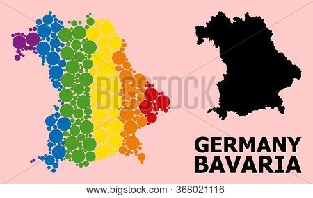 Rainbow Vibrant Collage Vector Map Of Bavaria State For Lgbt, And Black Version. Geographic Collage