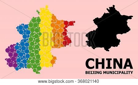 Spectrum Vibrant Mosaic Vector Map Of Beijing Municipality For Lgbt, And Black Version. Geographic M