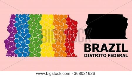 Spectrum Vibrant Mosaic Vector Map Of Brazil - Distrito Federal For Lgbt, And Black Version. Geograp