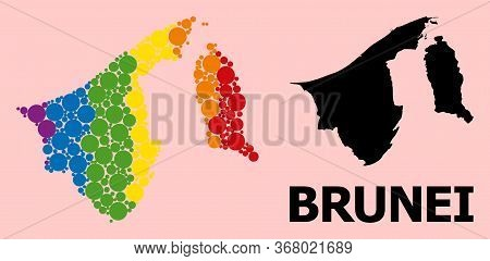 Rainbow Colored Collage Vector Map Of Brunei For Lgbt, And Black Version. Geographic Collage Map Of