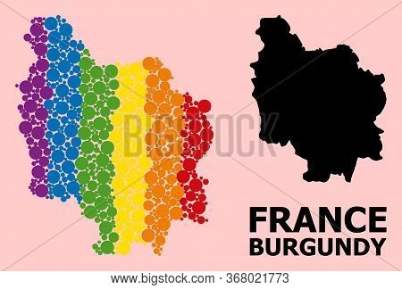 Rainbow Vibrant Collage Vector Map Of Burgundy Province For Lgbt, And Black Version. Geographic Coll