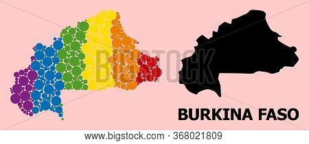 Spectrum Colored Mosaic Vector Map Of Burkina Faso For Lgbt, And Black Version. Geographic Mosaic Ma