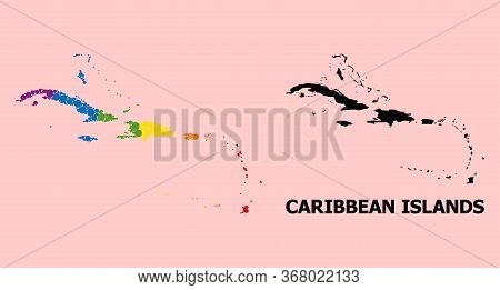 Spectrum Colored Collage Vector Map Of Caribbean Islands For Lgbt, And Black Version. Geographic Con