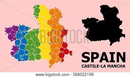 Spectrum Vibrant Mosaic Vector Map Of Castile-la Mancha Province For Lgbt, And Black Version. Geogra