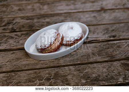 Top View Close Up Shot Of Sugary Donuts