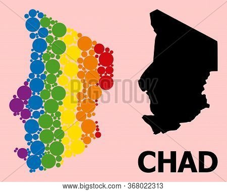 Spectrum Vibrant Collage Vector Map Of Chad For Lgbt, And Black Version. Geographic Collage Map Of C