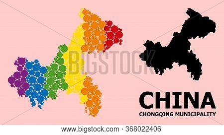 Spectrum Vibrant Mosaic Vector Map Of Chongqing Municipality For Lgbt, And Black Version. Geographic