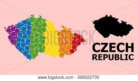 Spectrum Colored Pattern Vector Map Of Czech Republic For Lgbt, And Black Version. Geographic Concep