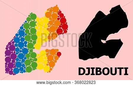 Rainbow Vibrant Pattern Vector Map Of Djibouti For Lgbt, And Black Version. Geographic Concept Map O