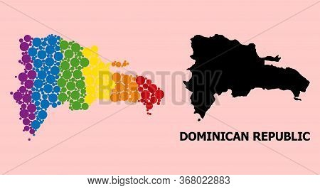 Spectrum Vibrant Mosaic Vector Map Of Dominican Republic For Lgbt, And Black Version. Geographic Mos