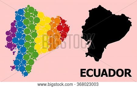 Spectrum Vibrant Collage Vector Map Of Ecuador For Lgbt, And Black Version. Geographic Collage Map O