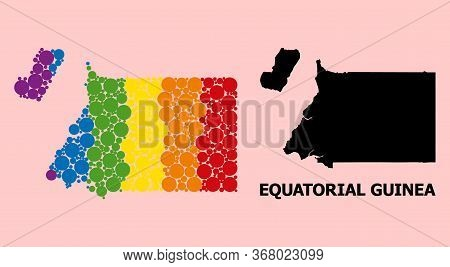 Rainbow Colored Collage Vector Map Of Equatorial Guinea For Lgbt, And Black Version. Geographic Conc