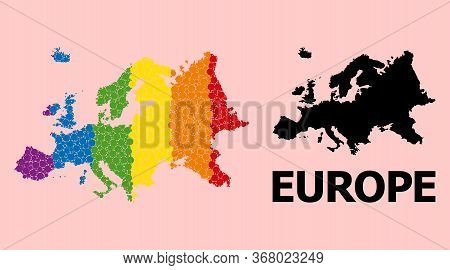 Spectrum Colored Pattern Vector Map Of Europe For Lgbt, And Black Version. Geographic Concept Map Of