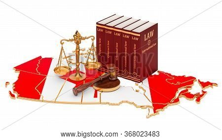 Law And Justice In Canada Concept, 3d Rendering Isolated On White Background
