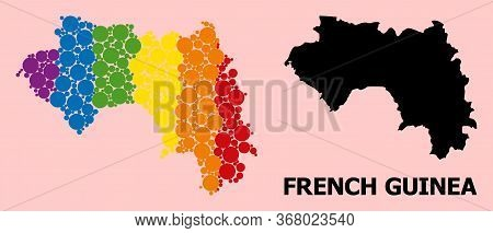 Rainbow Vibrant Collage Vector Map Of French Guinea For Lgbt, And Black Version. Geographic Concept