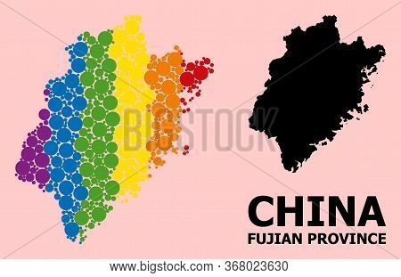Rainbow Vibrant Mosaic Vector Map Of Fujian Province For Lgbt, And Black Version. Geographic Concept