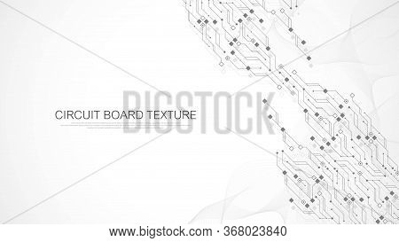 Technology Circuit Board Texture Background. Abstract Circuit Board Banner Wallpaper. Digital Data I