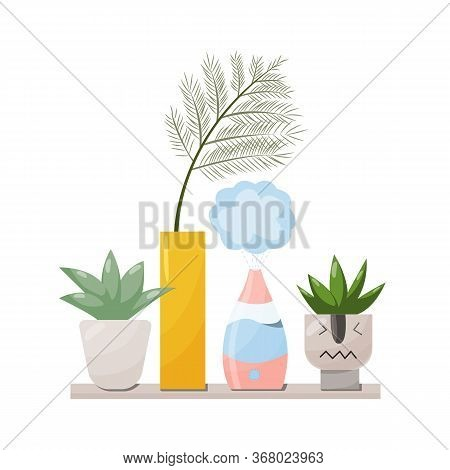 Humidifier And Plants Equipment For Home Or Office. Air Purifier In The Interior Vector Illustration