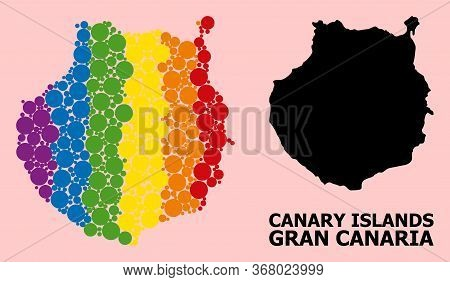 Spectrum Vibrant Collage Vector Map Of Gran Canaria For Lgbt, And Black Version. Geographic Collage