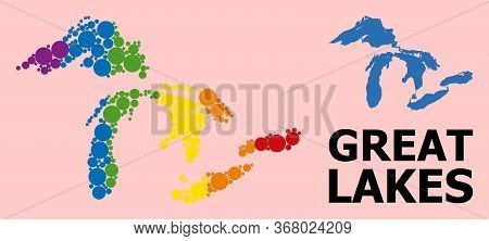 Rainbow Colored Collage Vector Map Of Great Lakes For Lgbt, And Black Version. Geographic Concept Ma