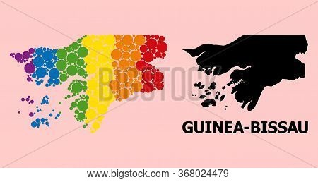 Rainbow Vibrant Pattern Vector Map Of Guinea-bissau For Lgbt, And Black Version. Geographic Concept