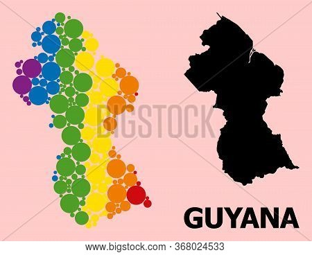 Rainbow Vibrant Collage Vector Map Of Guyana For Lgbt, And Black Version. Geographic Collage Map Of