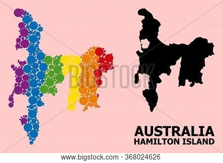 Rainbow Vibrant Collage Vector Map Of Hamilton Island For Lgbt, And Black Version. Geographic Collag