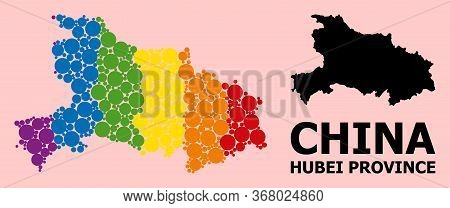 Spectrum Colored Mosaic Vector Map Of Hubei Province For Lgbt, And Black Version. Geographic Concept