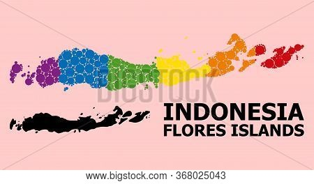 Rainbow Vibrant Collage Vector Map Of Indonesia - Flores Islands For Lgbt, And Black Version. Geogra