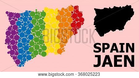 Rainbow Colored Collage Vector Map Of Jaen Spanish Province For Lgbt, And Black Version. Geographic