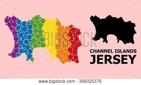 Spectrum Colored Collage Vector Map Of Jersey Island For Lgbt, And Black Version. Geographic Collage